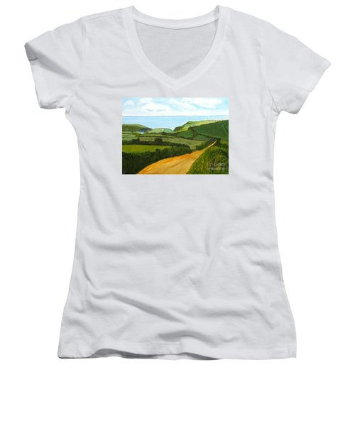 South West England Countryside Cotswold Area Women's V-Neck T-Shirt (Junior Cut) by Rod Jellison
