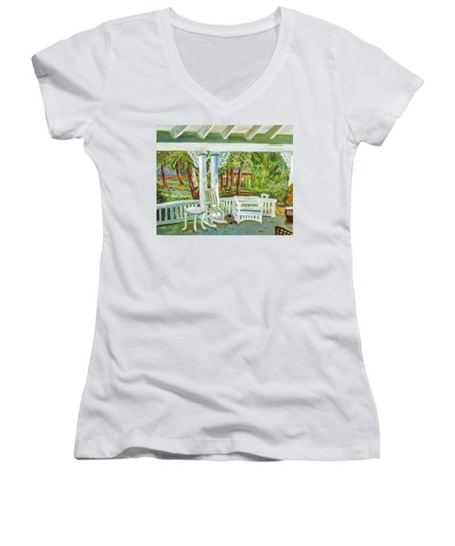 Women's V-Neck T-Shirt (Junior Cut) featuring the painting Southern Porches by Margaret Harmon