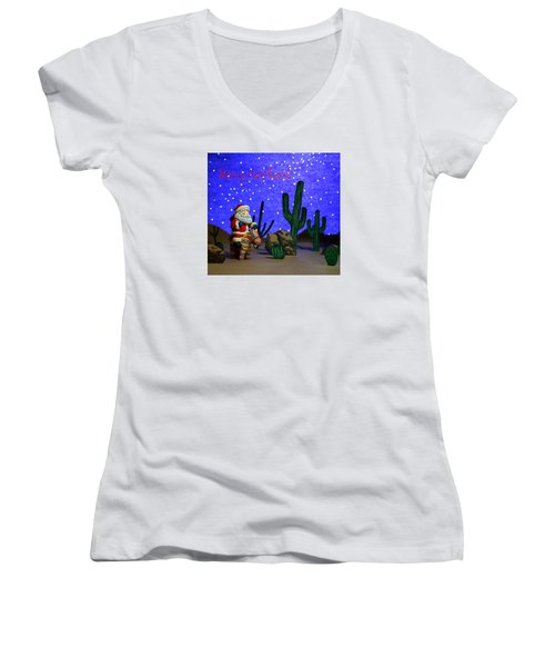 Women's V-Neck T-Shirt (Junior Cut) featuring the painting Southwest Santa  by Marna Edwards Flavell