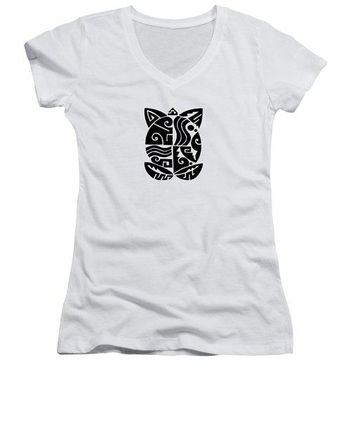Women's V-Neck T-Shirt featuring the digital art Southwest Tribal Tortuga by Vagabond Folk Art - Virginia Vivier