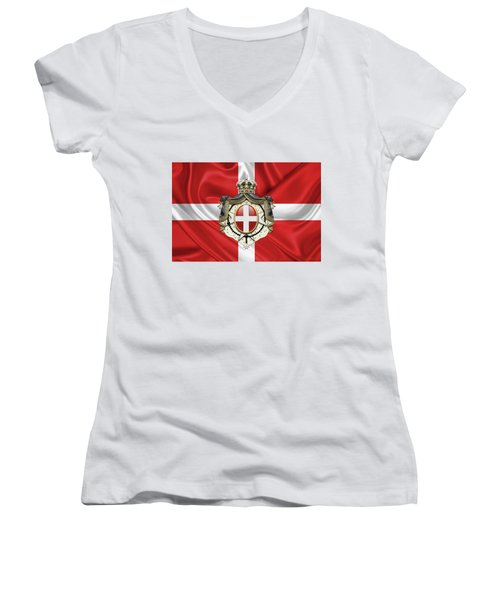 Sovereign Military Order Of Malta - S M O M Coat Of Arms Over Flag Women's V-Neck (Athletic Fit)