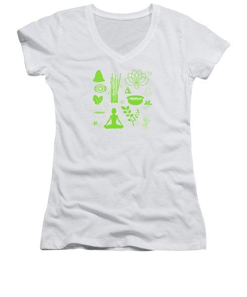 Spa Meditation Background Women's V-Neck T-Shirt (Junior Cut) by Serena King