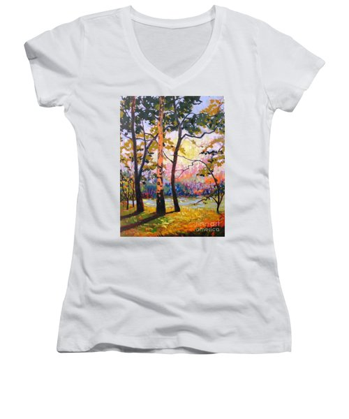 Spanaway Pond Women's V-Neck T-Shirt