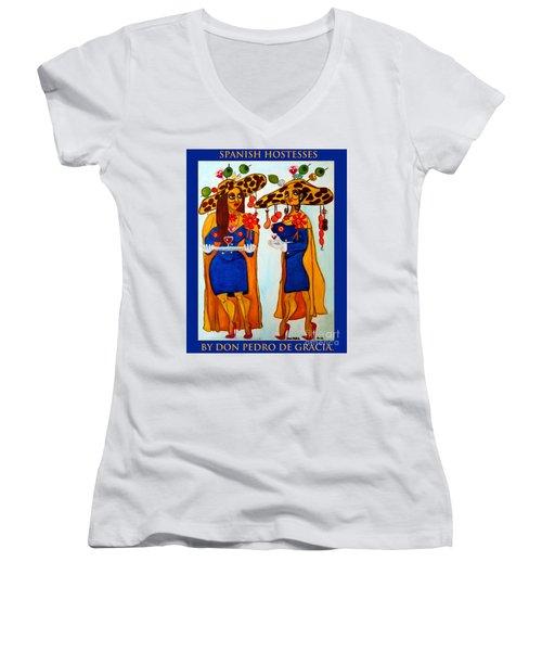 Women's V-Neck T-Shirt (Junior Cut) featuring the painting Spanish Hostesses. by Don Pedro De Gracia