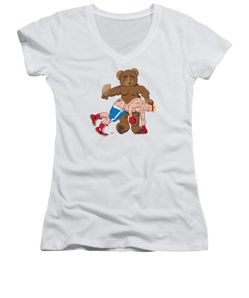 Spanking Bear Women's V-Neck T-Shirt
