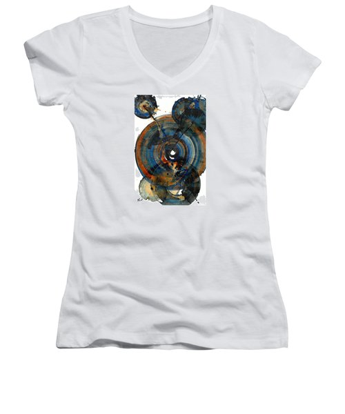 Women's V-Neck T-Shirt (Junior Cut) featuring the painting Spherical Joy Series 03.030211 by Kris Haas