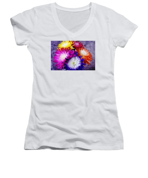 Spider Mums Women's V-Neck T-Shirt (Junior Cut) by Joan Bertucci