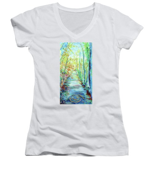 Women's V-Neck T-Shirt (Junior Cut) featuring the painting Spirale - Spiral by Koro Arandia