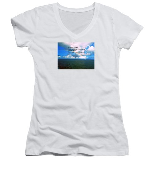 Spiritual Belief Women's V-Neck T-Shirt (Junior Cut) by Gary Wonning