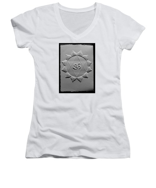 Spiritual Om Yantra Women's V-Neck T-Shirt (Junior Cut) by Suhas Tavkar