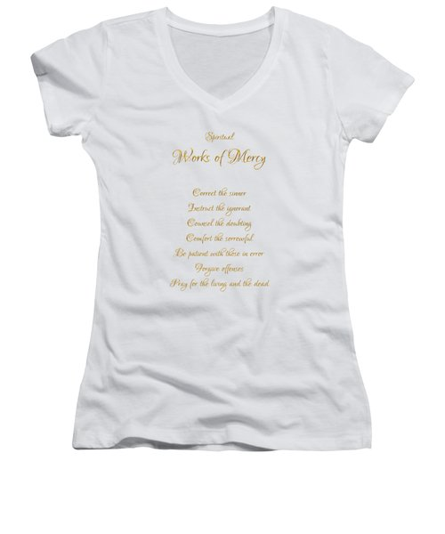 Spiritual Works Of Mercy White Background Women's V-Neck T-Shirt
