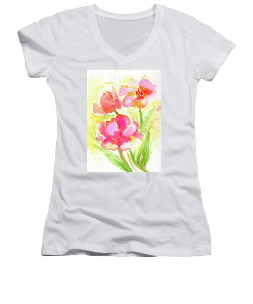 Splash Of Pinks  Women's V-Neck