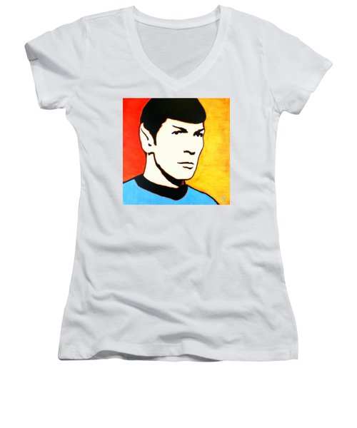 Women's V-Neck T-Shirt (Junior Cut) featuring the painting Spock Vulcan Star Trek Pop Art by Bob Baker