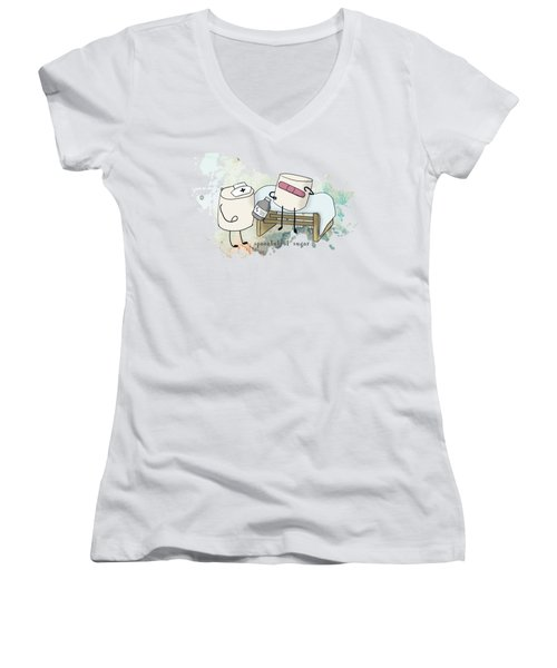 Spoonful Of Sugar Words Illustrated  Women's V-Neck T-Shirt (Junior Cut) by Heather Applegate