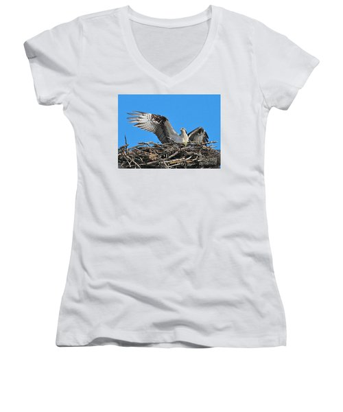 Women's V-Neck T-Shirt featuring the photograph Spread-winged Osprey  by Debbie Stahre