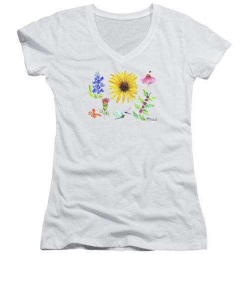 Spring 2017 Medley Watercolor Art By Kmcelwaine Women's V-Neck T-Shirt (Junior Cut) by Kathleen McElwaine