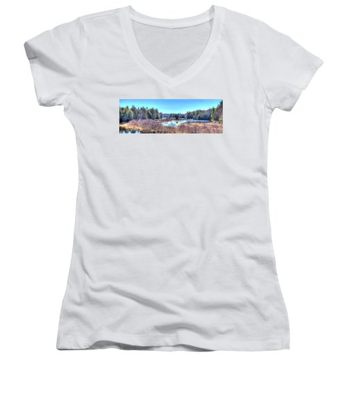 Women's V-Neck T-Shirt (Junior Cut) featuring the photograph Spring Scene At The Tobie Trail Bridge by David Patterson