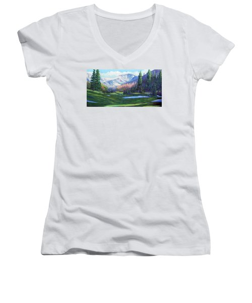 Spring Colors In The Rockies Women's V-Neck T-Shirt (Junior Cut) by Billie Colson