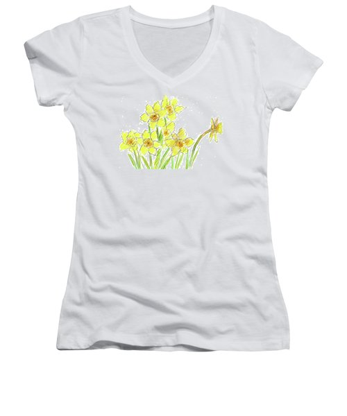 Women's V-Neck T-Shirt (Junior Cut) featuring the painting Spring Daffodils by Cathie Richardson