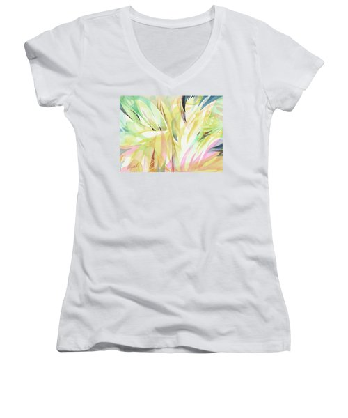 Women's V-Neck featuring the painting Spring Flora by Carolyn Utigard Thomas