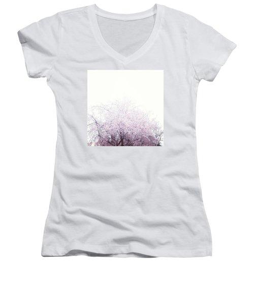 #spring #flowers #tree #college #pink Women's V-Neck