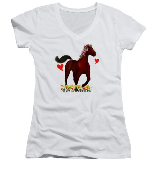 Spring Horse Women's V-Neck T-Shirt