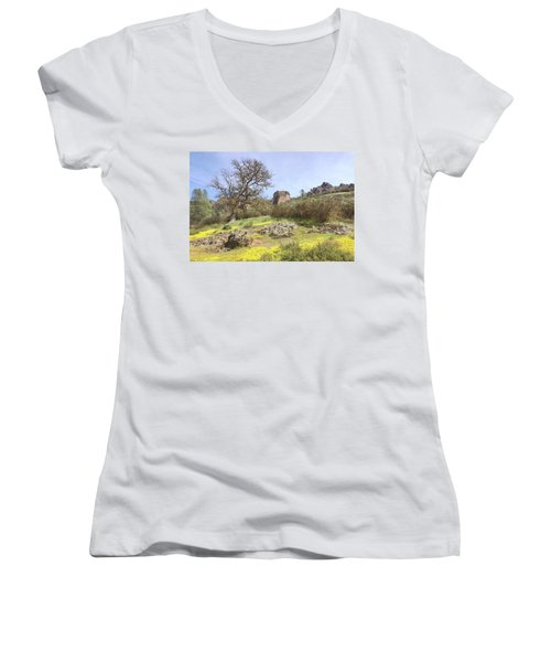 Women's V-Neck T-Shirt (Junior Cut) featuring the photograph Spring In Pinnacles National Park by Art Block Collections