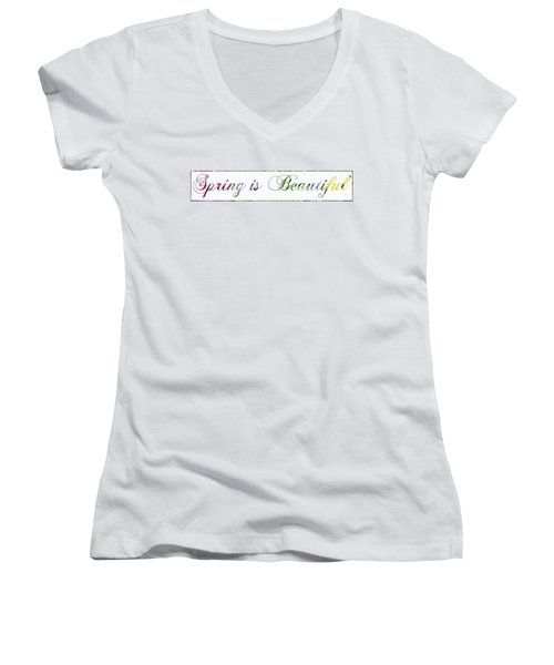 Spring Is Beautiful Panorama Women's V-Neck T-Shirt (Junior Cut) by Denise Beverly
