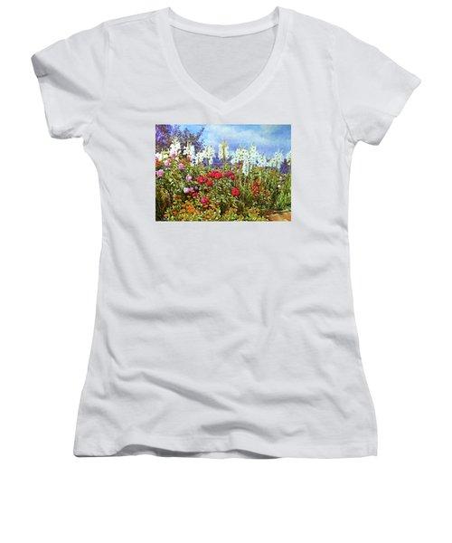 Women's V-Neck T-Shirt (Junior Cut) featuring the photograph Spring by Munir Alawi