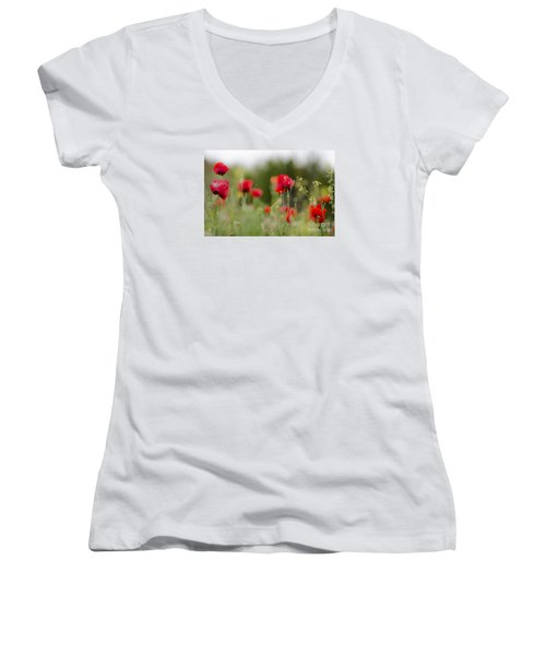 Spring Poppies  Women's V-Neck T-Shirt (Junior Cut) by Perry Van Munster
