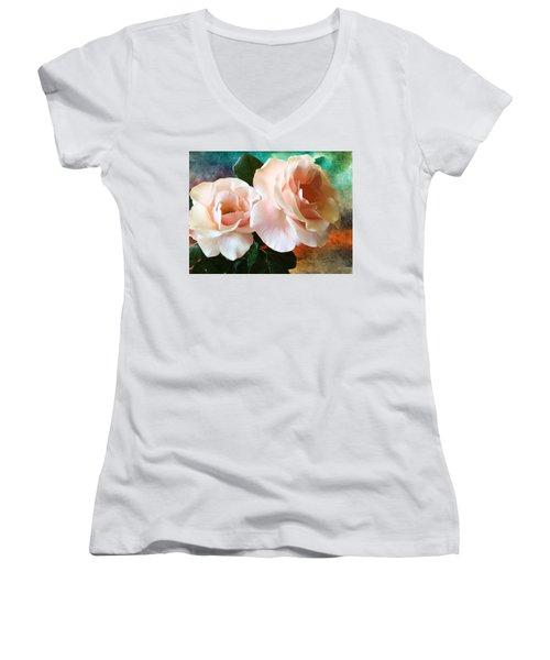 Spring Roses Women's V-Neck T-Shirt
