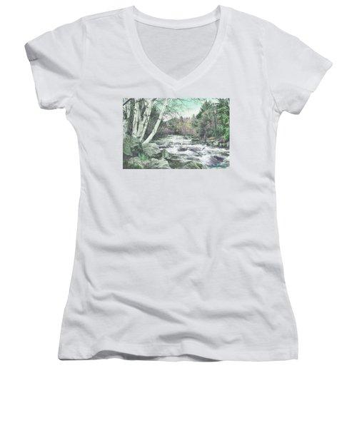 Spring Runoff Women's V-Neck T-Shirt (Junior Cut) by John Selmer Sr