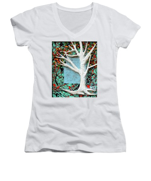 Women's V-Neck T-Shirt (Junior Cut) featuring the painting Spring Serenade With Tree by Genevieve Esson