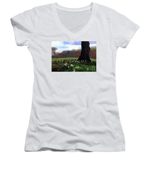Women's V-Neck T-Shirt (Junior Cut) featuring the photograph Springing Forward At Edgemont Golf Course by Polly Peacock