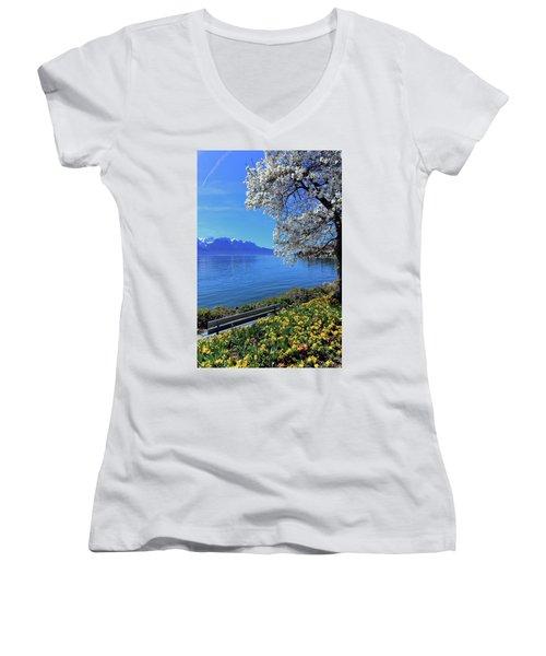 Springtime At Geneva Or Leman Lake, Montreux, Switzerland Women's V-Neck T-Shirt (Junior Cut) by Elenarts - Elena Duvernay photo