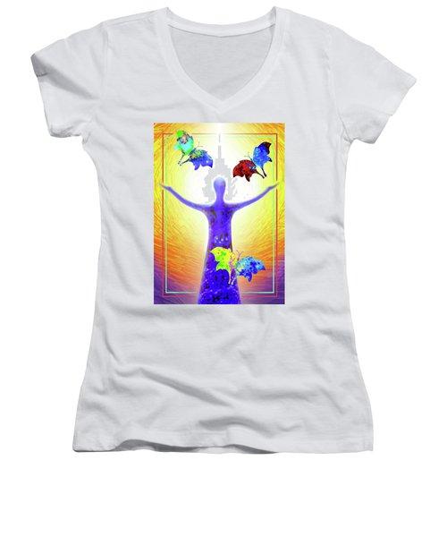 Springtime Women's V-Neck T-Shirt (Junior Cut) by Hartmut Jager