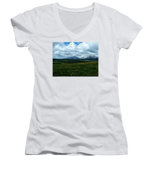 Springtime In The Rockies Women's V-Neck T-Shirt