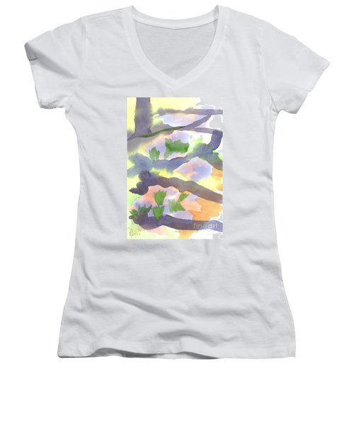 Women's V-Neck T-Shirt (Junior Cut) featuring the painting Springtime Wildflower Camouflage  by Kip DeVore