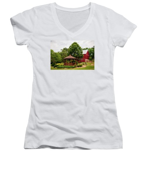 Women's V-Neck T-Shirt (Junior Cut) featuring the photograph Springwater Park by Trey Foerster