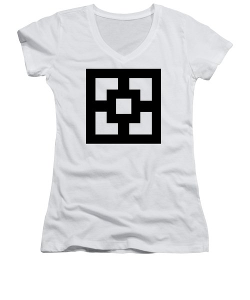 Women's V-Neck T-Shirt (Junior Cut) featuring the digital art Squares - Chuck Staley by Chuck Staley
