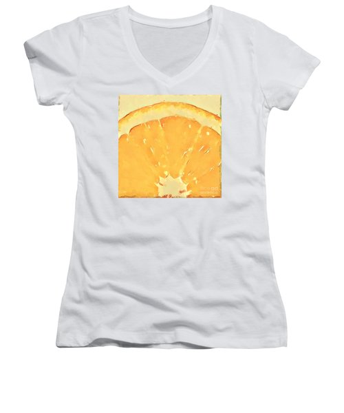 Women's V-Neck T-Shirt (Junior Cut) featuring the mixed media Squeeze Me 2 by Anthony Fishburne
