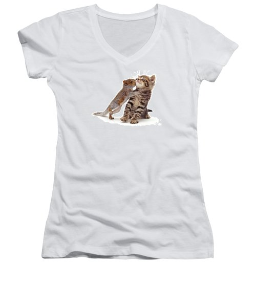 Squirrel Kiss Women's V-Neck
