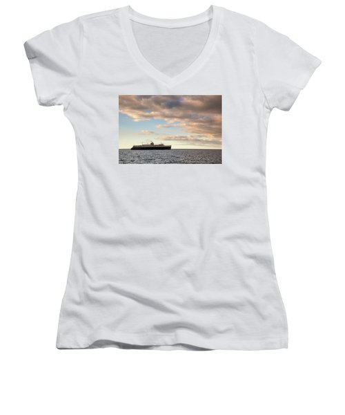 Ss Badger Leaving Port Women's V-Neck (Athletic Fit)
