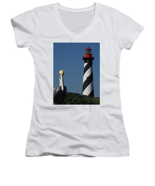 St. Augustine Lighthouse Women's V-Neck (Athletic Fit)