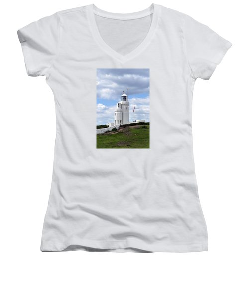 Women's V-Neck T-Shirt (Junior Cut) featuring the photograph St. Catherine's Lighthouse On The Isle Of Wight by Carla Parris