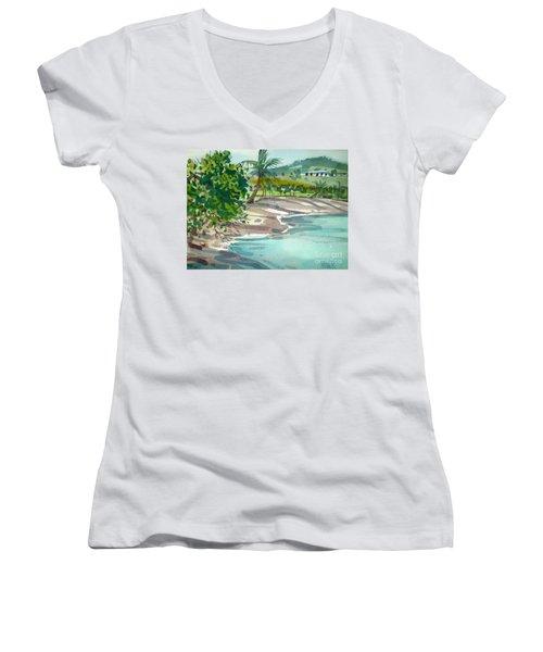 St. Croix Beach Women's V-Neck T-Shirt (Junior Cut) by Donald Maier