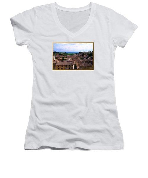 Women's V-Neck T-Shirt (Junior Cut) featuring the photograph St. Emilion View by Joan  Minchak