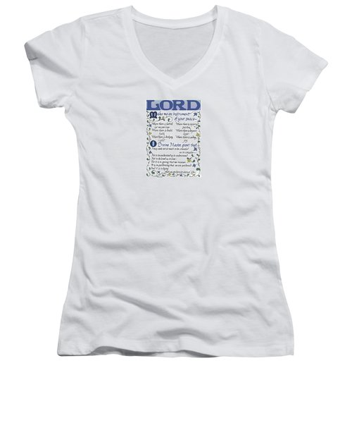 St Francis Prayer   Lord Make Me An Instrument Of Your Peace Women's V-Neck
