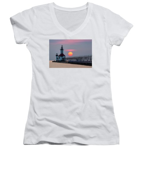 Women's V-Neck T-Shirt featuring the photograph St. Joseph Lighthouse At Sunset by Adam Romanowicz