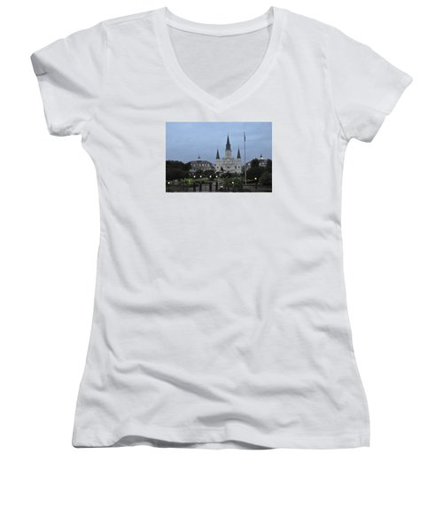 St. Louis Catherderal Women's V-Neck T-Shirt (Junior Cut) by Helen Haw